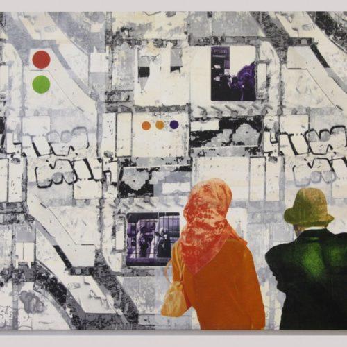 De Ontmoeting-PetraBerghorst2014, 190x130cmZeefdruk/Acryl op doek