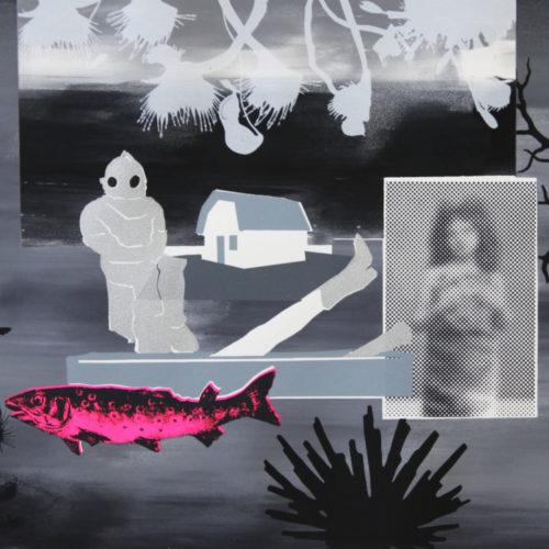 Petra Berghorst - De Duiker, 2018, Acryl/zeefdruk op papier 65x50cm