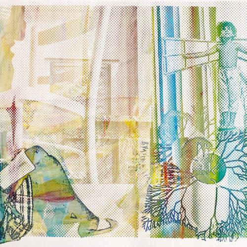 Petra Berghorst- The Escape, 2020, Acryl/Zeefdruk op papier, 101x65cm